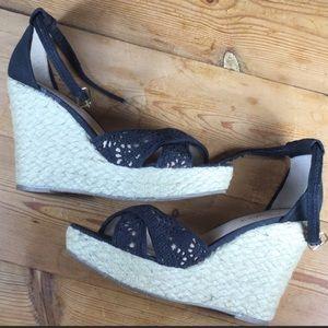 Candies Black Canvas Casey Platform Wedge Sandals